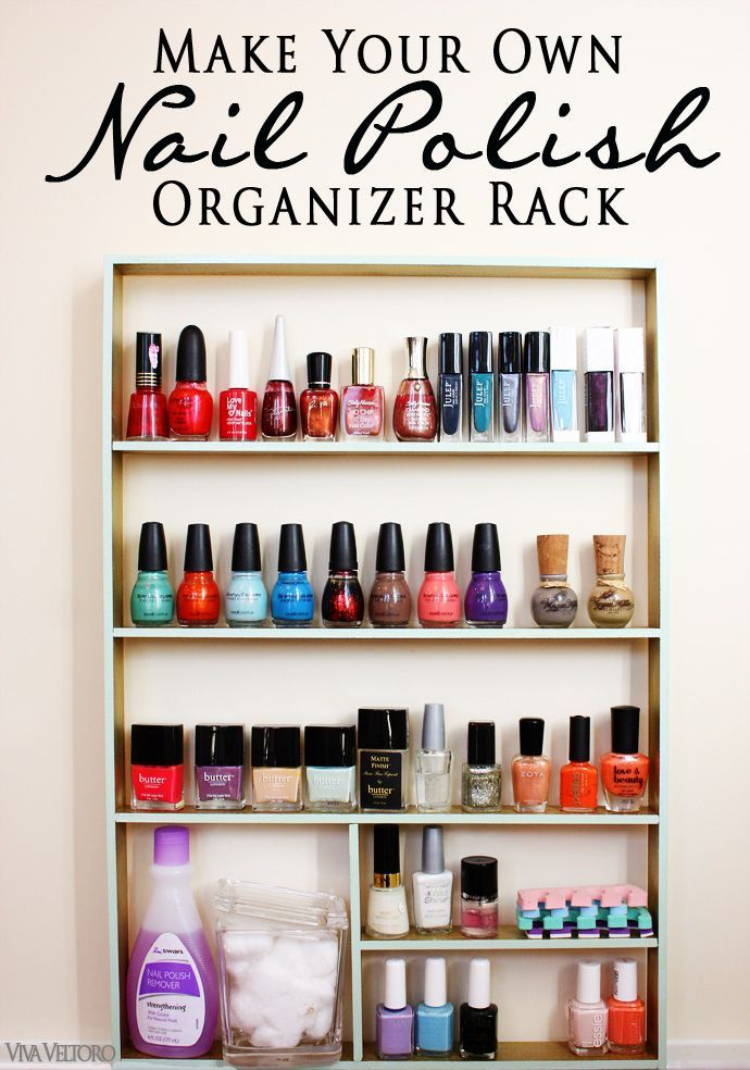 DIY nail polish organizer - so easy to do and you can totally customize it!  Also great for make-up, perfume, or art supplies!