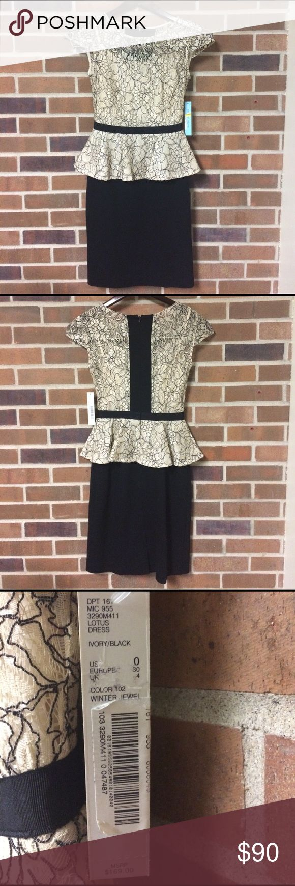 Antonio Melani Peplum Midi Dress Antonio Melani peplum dress new with tags. Clean and pristine! Cap sleeves, built-in liner, lace detail. Form fitting with knee length skirt. Comment with questions or for additional pictures! ANTONIO MELANI Dresses Midi