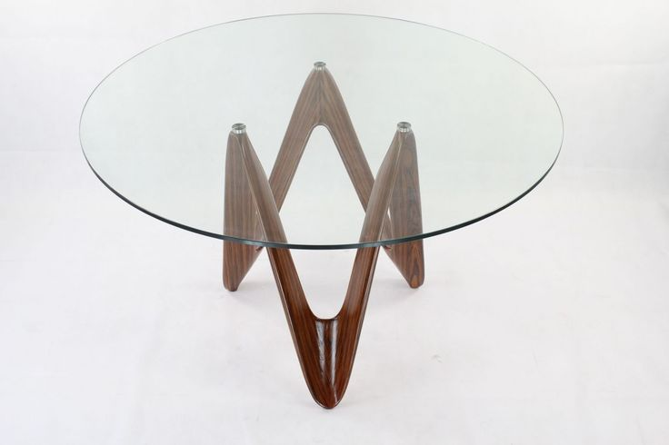 Contemporary Round Glass Coffee Table With Unique Brown Varnished Walnut Wood…