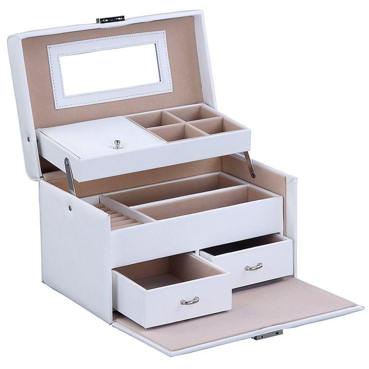 songmics schmuckk stchen schmuckkoffer mit spiegel und 2 schubladen wei jbc122w. Black Bedroom Furniture Sets. Home Design Ideas