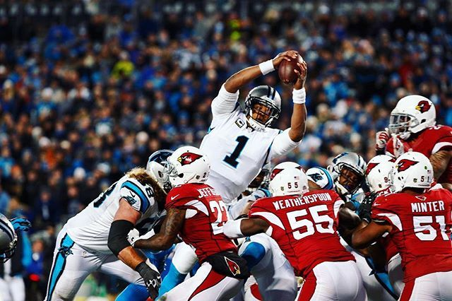 As the NFL season nears, SI revisits the 2016 playoffs.  Carolina QB Cam Newton (1) rushed for two touchdowns and passed for two more as the Panthers crushed the Arizona Cardinals 49-15 in the NFC Championship.  Photograph by Chris Keane @panthers @chriskeanephoto @cameron1newton