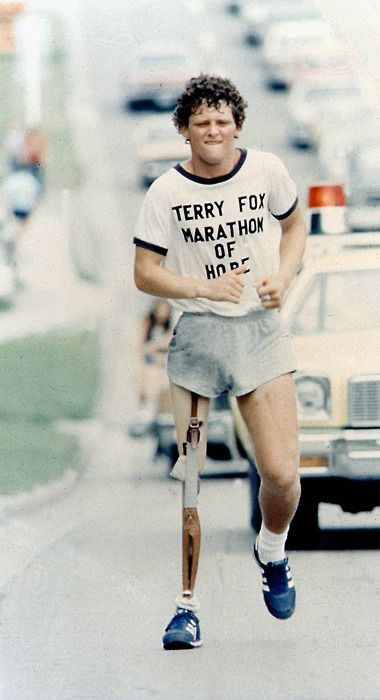 Terry Fox, Canadian extrordinaire. Back in the 80's I married a (different) guy named Terry Fox, and that provided many opportunities for conversations about this young, inspirational man. Keeping one's physical and emotional burdens in perspective gets a little easier when you think about Terry. Hero.