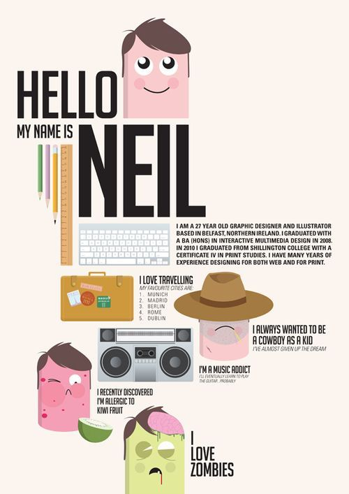 infographic on a person - nice balance of content and white space that helps guide the eye.  along with flow, repetition of fonts and shapes (the face) helps establish the theme and keeps it from looking like a hodgepodge of random information on a page