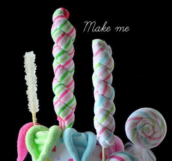 Washcloth Long Lollipop for a Diaper Cake by TopsyTurvyDiaperCake, $3.99
