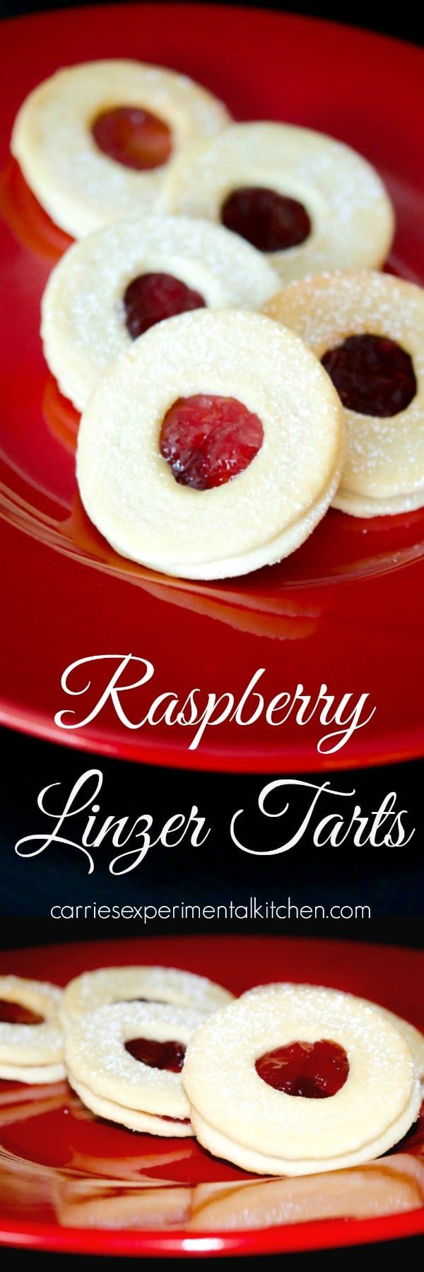 Raspberry Linzer Tarts are one of our favorite holiday treats and are made with two buttery cookies filled with tart raspberry preserves.  via @CarriesExpKtchn