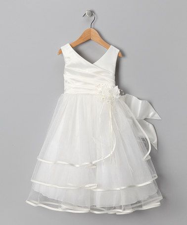 Take a look at this Ivory Layer Satin Surplice Dress - Toddler & Girls by Chic Baby on #zulily today!
