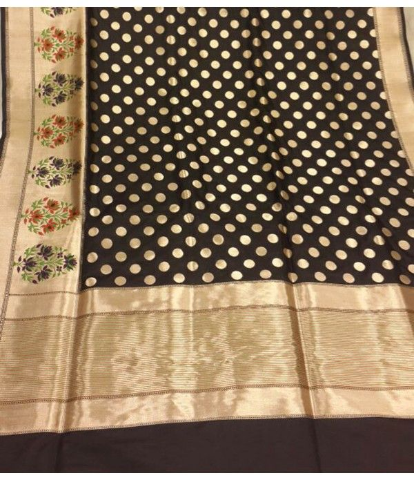 Black gold handloom Banarasi Pure Silk Saree