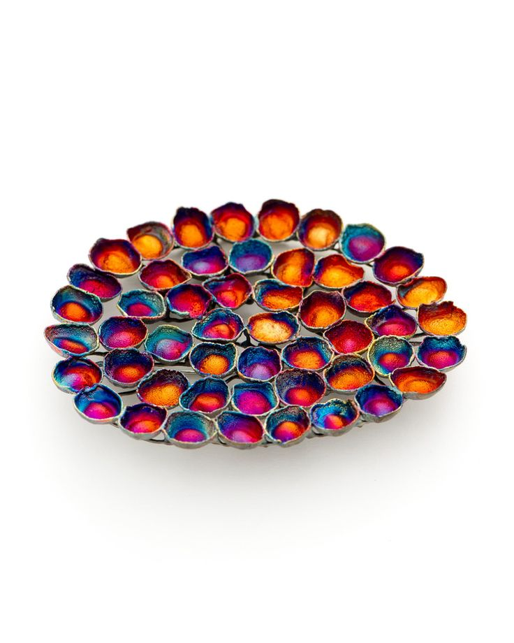 Jill Hermans - Shibuichi Brooch: I love the bright colour and shapes of this piece, another one that would be interesting as a repeated, slightly differing link on a necklace or bracelet