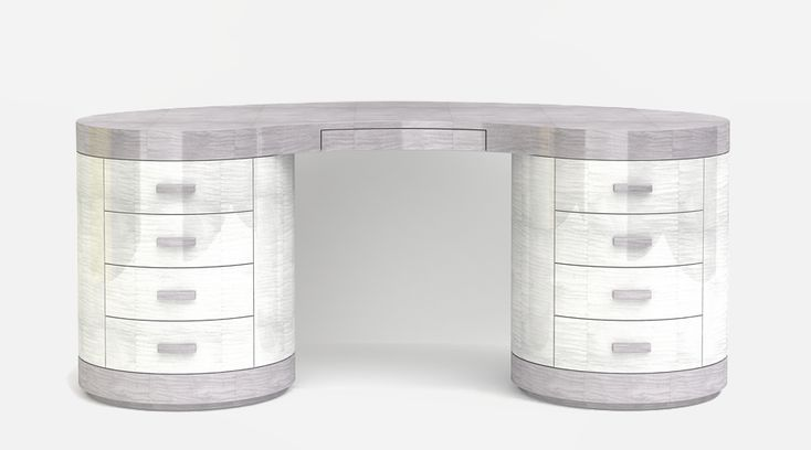 The Chrysler Dressing Table - A magnificent dressing table finished in high gloss sycamore slate grey and pearl grey