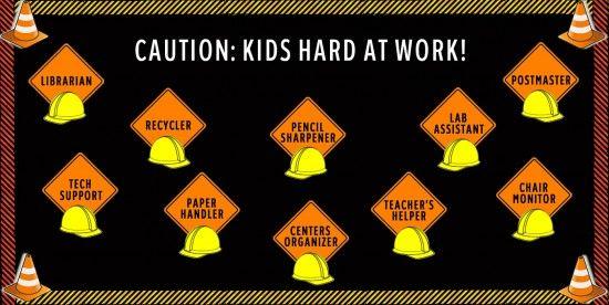 Construction Theme Classroom Helpers and Classroom Management Bulletin Board Idea