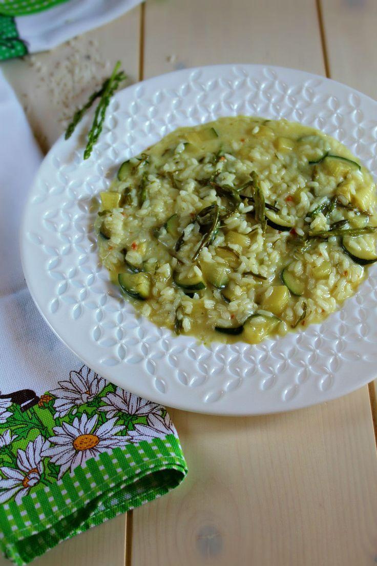 Risotto con asparagi selvatici zucchine e taleggio ricetta