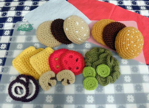 Hamburger Play Food PDF Crochet Pattern. $3.99, via Etsy.