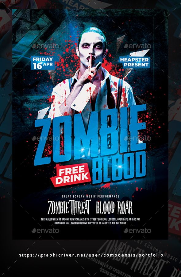 Halloween #Zombie Party #Flyer Template - Clubs  Parties Events