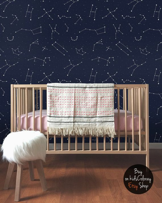 Constellations pattern, Kids room wallpaper, Dark and elegant wall mural, Minimalistic wall decal, Self adhesive, Removable, Reusable #73