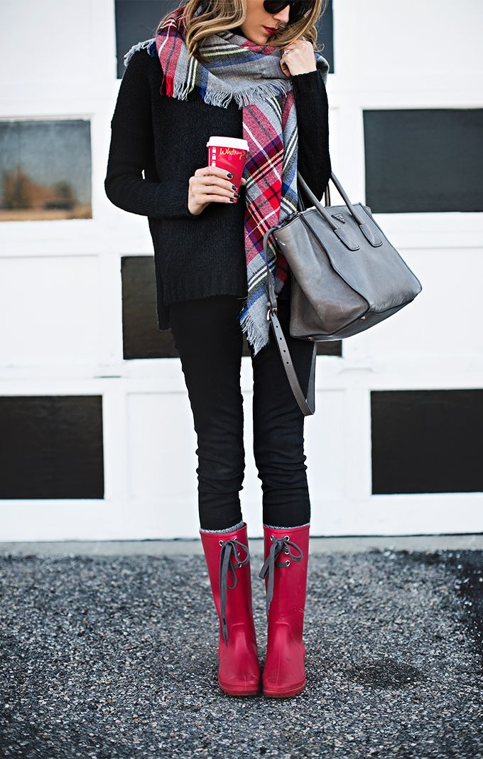 gray & black with red accents [sweater, scarf, skinnies/leggings, boots]