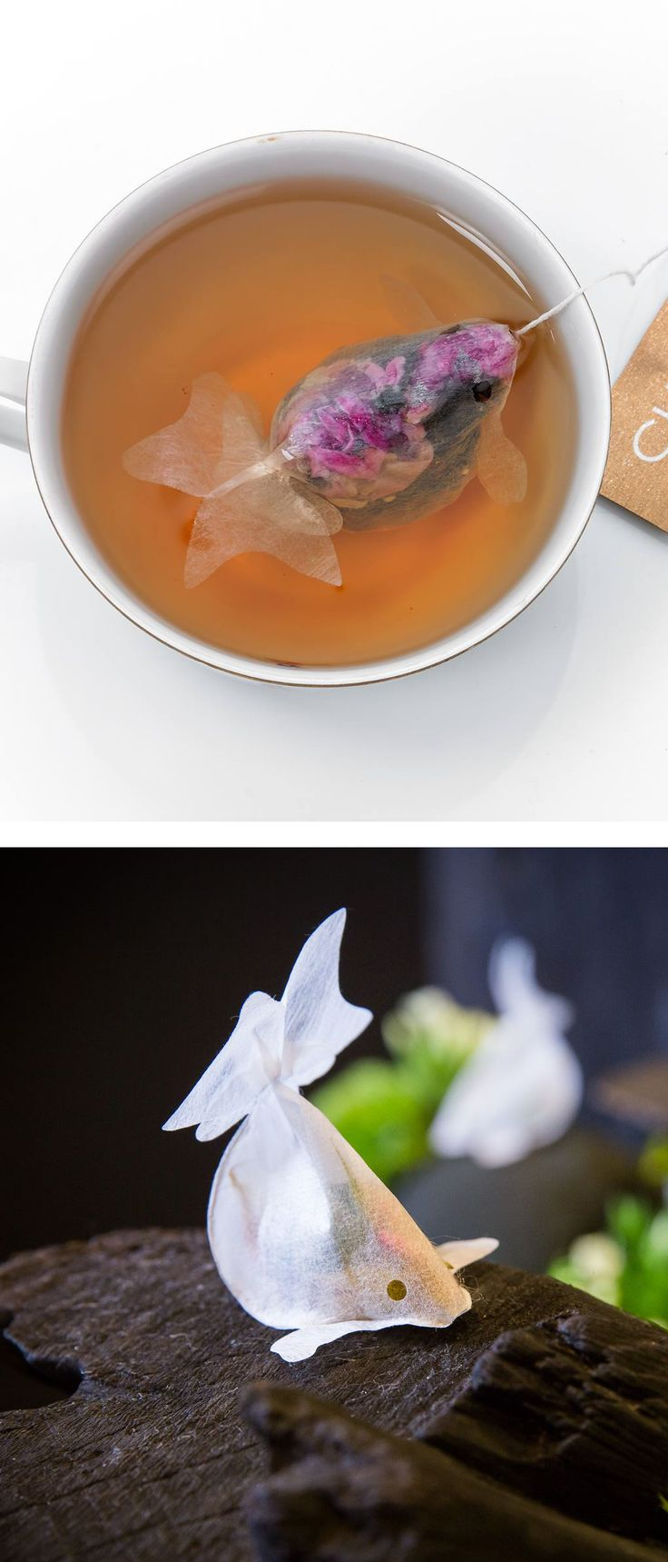 Whimsical tea bags shaped like goldfish