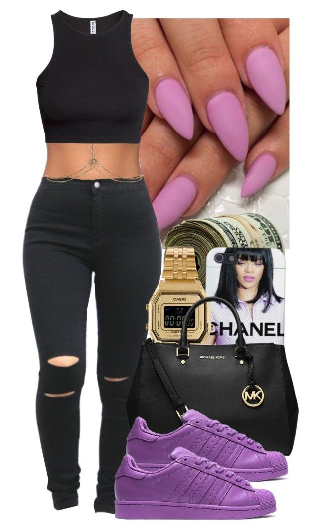 Untitled #52 by nadinesemedo on Polyvore featuring H&M, Forever 21, MICHAEL Michael Kors, Casio, Accessorize, black, Chanel, michaelkors, adidas and casio