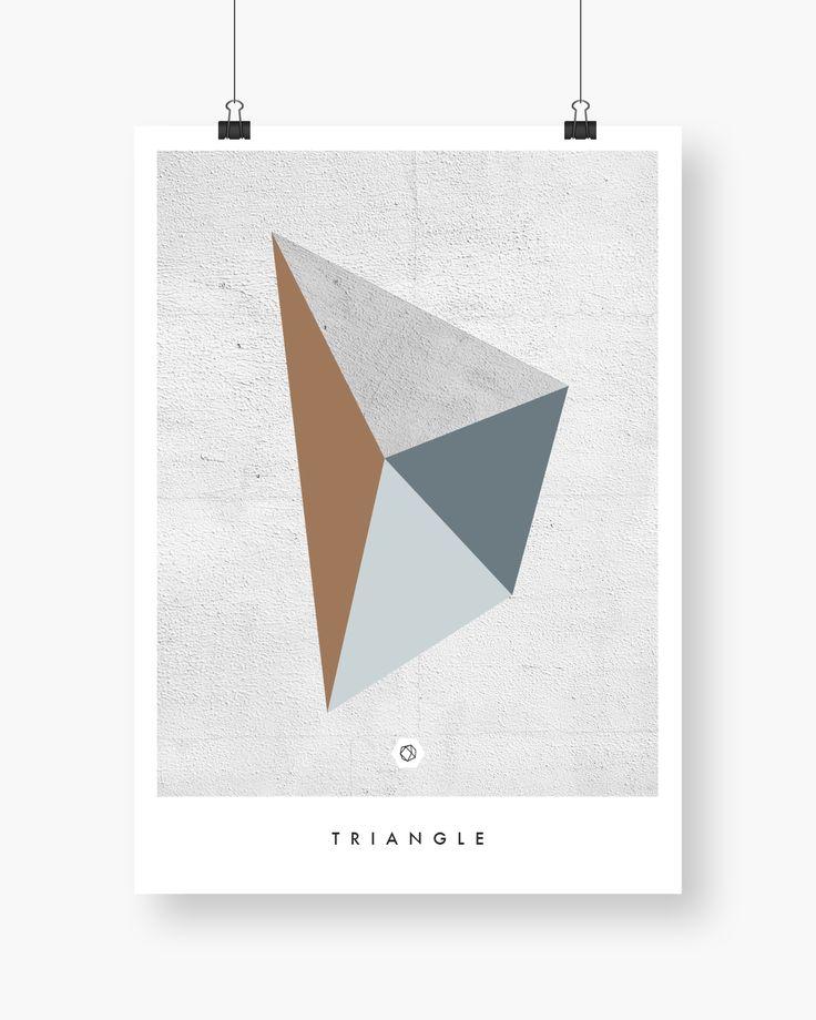 Geometric Poster - Triangle. Concrete tekstur med brun og grønnfarger. Finnes i flere størrelser.