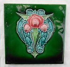 "Antique Art Nouveau Sherwin Pink Rose Majolica 6"" X 6"" Tile"