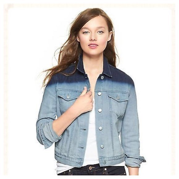 Gap 1969 Dip Dye Denim Jacket - indigo dip dye S Premium denim. Saturated indigo wash at top.  Long sleeves with single button cuffs. Point collar, front button placket.  Patch pockets on chest with button flap closures, angled besom pockets.  Banded waist with button tabs at each side. Tailored silhouette. Hits at the hips GAP Jackets & Coats Jean Jackets