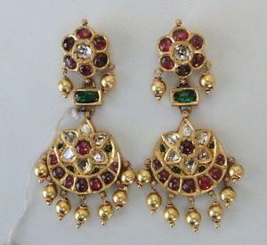 VINTAGE ANTIQUE 20K GOLD DIAMOND POLKI KUNDAN EARRING PAIR TAMIL NADU SOUTH IND