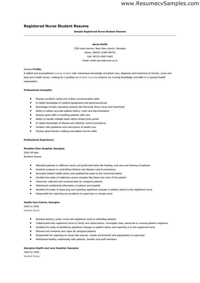 Nursing Resume Student 20 - Experts' opinions
