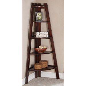 Walnut Finish 5 Tier Corner Display Unit Shelf / Rack F04038