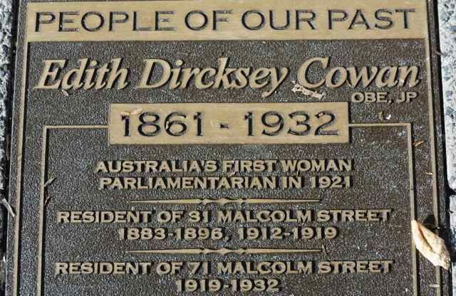 Edith Dircksey Cowan Memorial, King's Park, Perth, Australia. An established champion of women's and children's issues, Edith Cowan campaigned hard in the effort to pass the 1920 legislation to open Parliament to women.