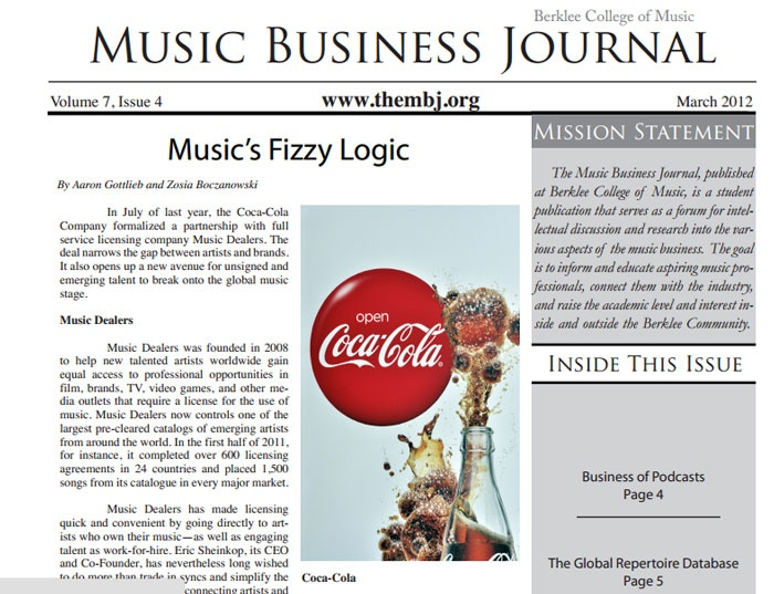 the free monthly PDF zine from Berklee College of Music, 'The Music Business Journal'