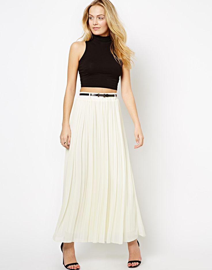 €48, Falda Larga Plisada Blanca de The Style. De Asos. Detalles: https://lookastic.com/women/shop_items/45927/redirect