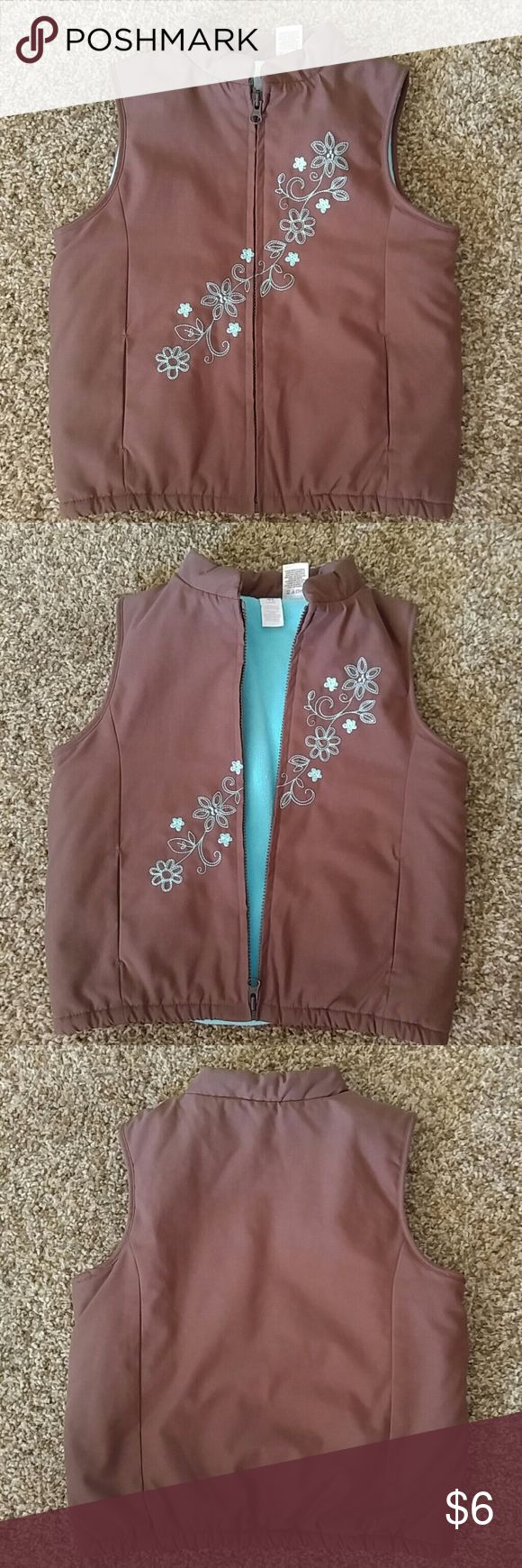 4T Brown Vest GUC Brown vest with blue floral stitching. Carter's Jackets & Coats Vests