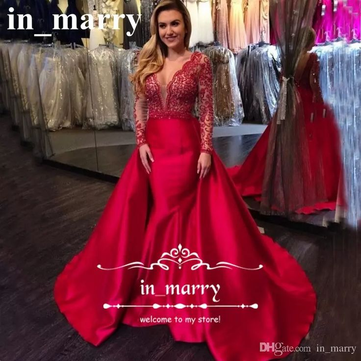 Red Arabic Overskirts Mermaid Evening Dresses 2017 Illusion V Neck Vintage Lace Long Sleeves Plus Size Satin African Formal Celebrity Gowns Prom Dresses 2017 Mermaid Evening Dresses Plus Size Evening Dresses Online with $228.58/Piece on In_marry's Store | DHgate.com