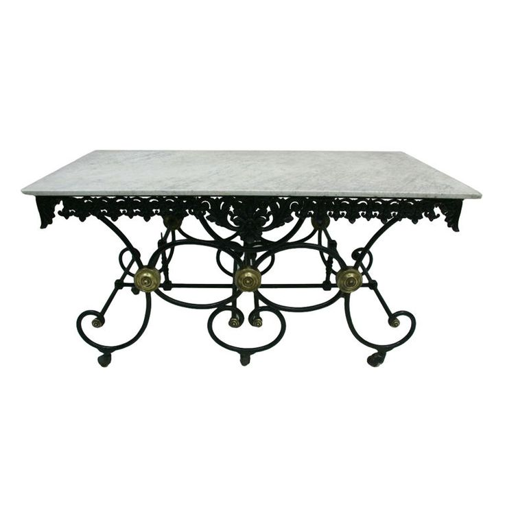 19th Century French Pastry Table With Original Carrara Marble