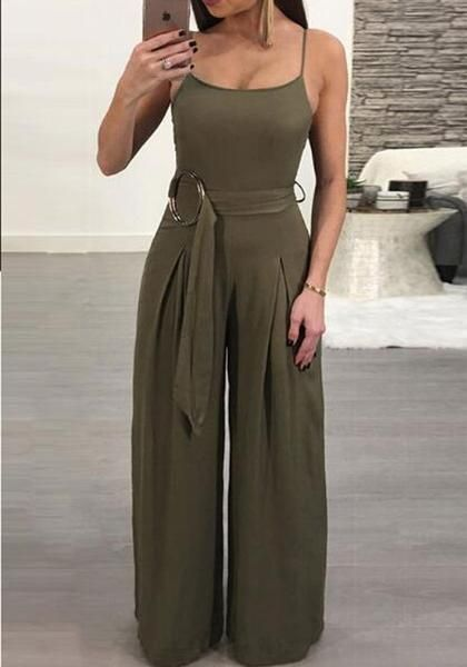 0015beeaee0 Army Green Sashes Spaghetti Strap Backless One Piece Wide Leg Long Jumpsuit