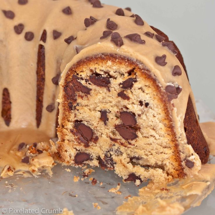 Chocolate Chip Peanut Butter Pound Cake with Peanut Butter Glaze.