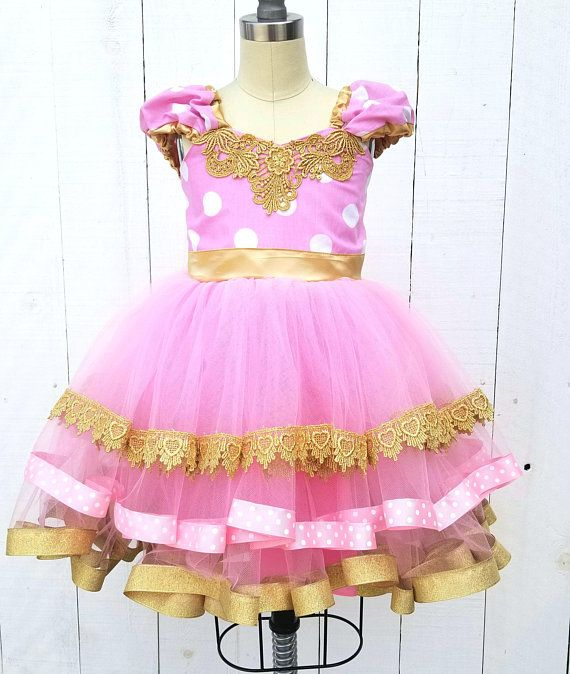 Pink And Gold Minnie Mouse Birthday Outfit Pink And Gold Dress