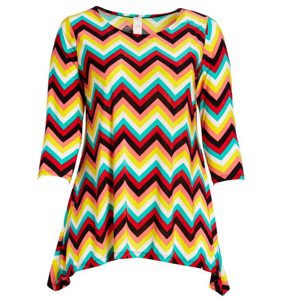 GLAM Yellow & Light Blue Chevron Sidetail Tunic ($14) ❤ liked on Polyvore featuring plus size women's fashion, plus size clothing, plus size tops, plus size tunics, plus size, red top, stretchy tops, yellow top, red tunic and light blue tunic