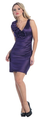 Purple Sleek Gathered Rose Fitted Cocktail Dress