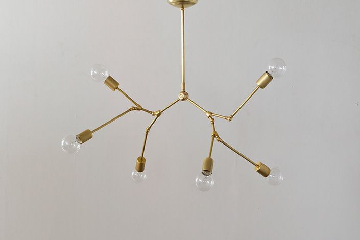 SOLID BRASS LAMP 6ARM CHANDELIER