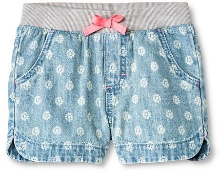 Cherokee Toddler Girls' Floral Jean Short Light Wash - Cherokee®