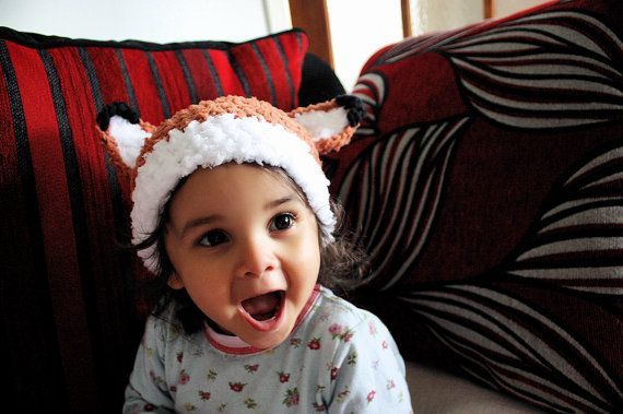 SUMMER SALE* Woodland fox childrens hat in orange and white. Handmade with love by Babamoon - size 12 to 24m - *Can be made in other colours * Can be made in sizes preemie to adult! * Save 10% today - >