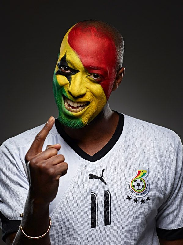 Ghana football soccer fan face paint photo by Monte Isom #worldcupfan #ghanafootballfan