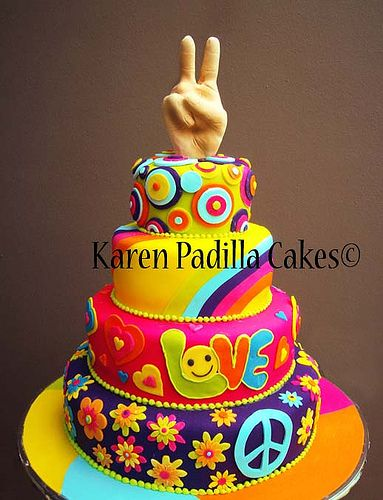 Peace Cake:  Customer interested in getting one of these themed cakes made.  This is some great inspiration!
