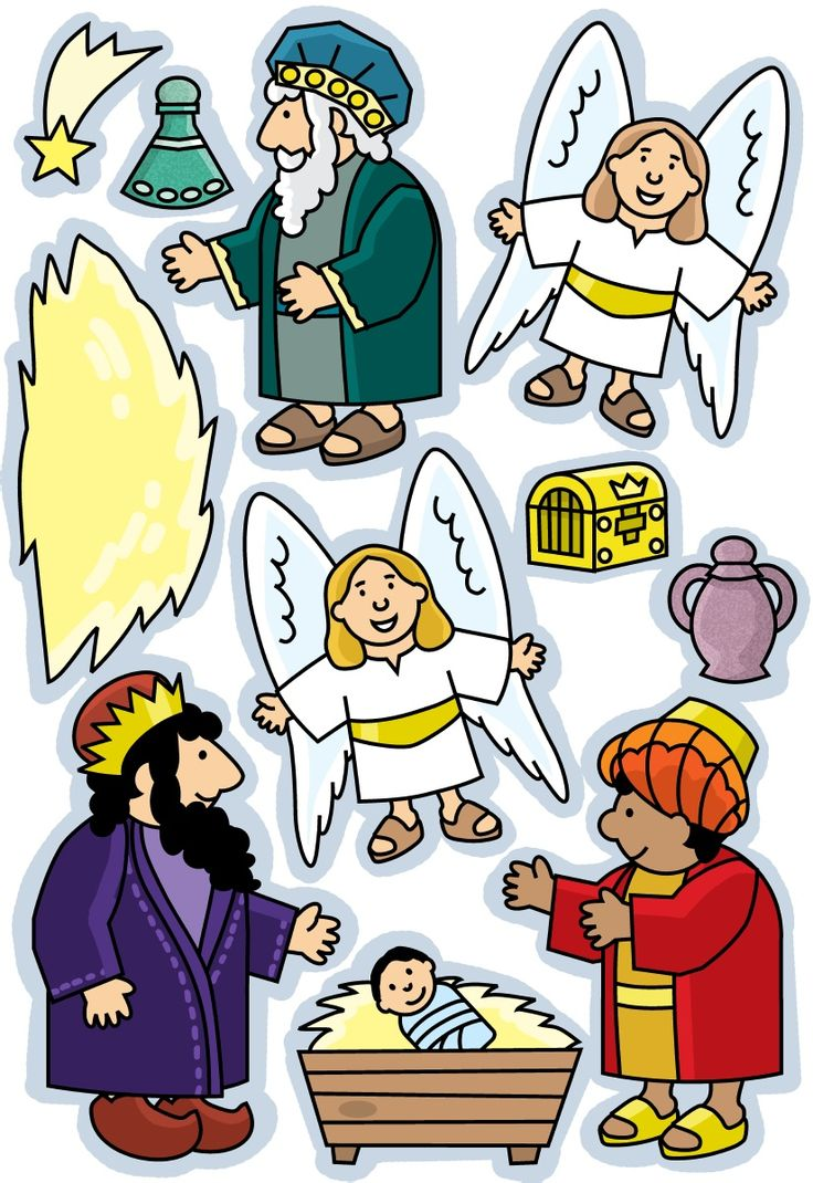 These could be printed and mounted on the sides upturned paper cups to be stand-up figures.  Could be used with the lesson  at http://missionbibleclass.org/1b0-new-testament/new-testament-part-1/life-of-christ-early/birth-of-jesus/