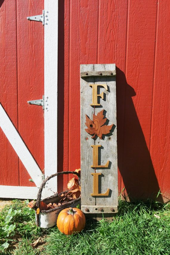 Hand cut Letters and Leaf for Fall Sign, Fall Decor, reclaimed wood,Thanksgiving