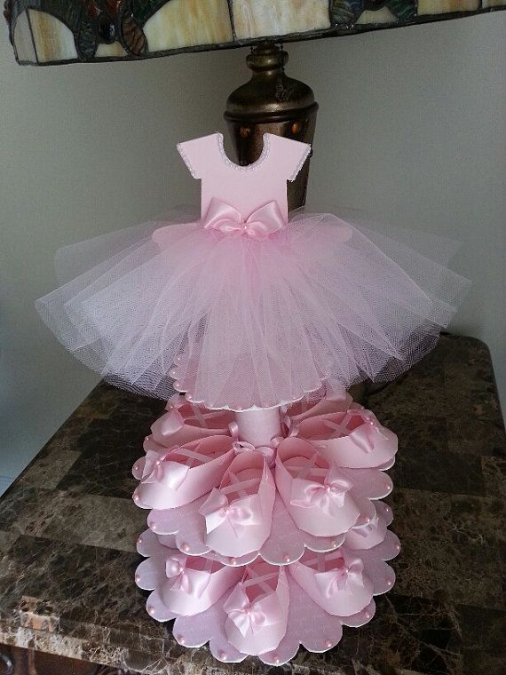 Dos niveles rosa bailarina zapato Favor pie por TheCarriageShoppe