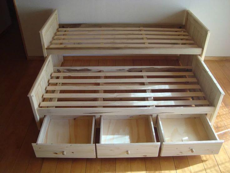 Cama nido pino superpuesta con cajones o carro cama for Cama divan con cajones