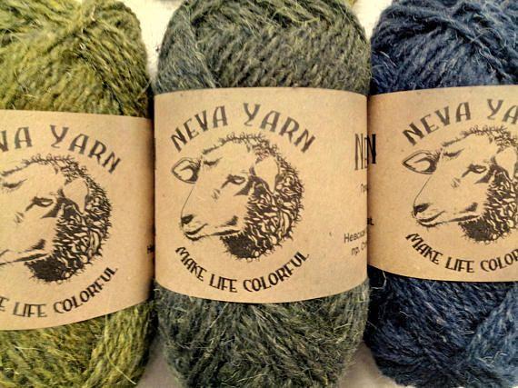 Neva Yarn Hand Dyed 100% WOOL YARN TRIO Set of 3x50 g Green-Blue