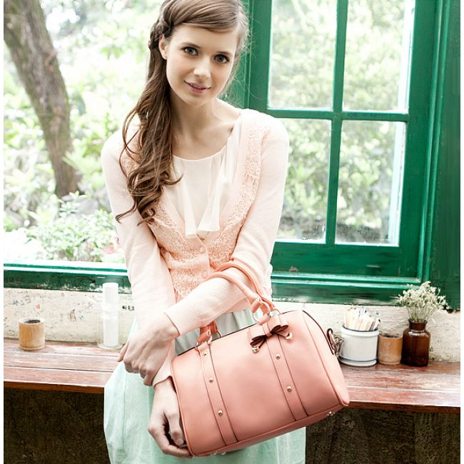 Chic Bow& Rivets Trimmed Candy Color Boston PU Shoulder Bag for Women Free Shipping