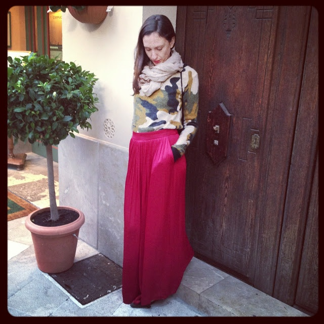 Wearing a red Zara skirt, Pull & Bear camouflage jumper and cashmere scarf
